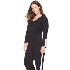 ELOQUII   Black Side Stripe Jumpsuit w/Gold Button